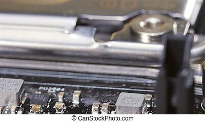 CPU socket of server mainboard macro background, sliding video