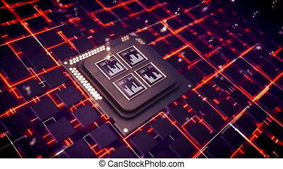 """""""CPU squares shimmering in cyberspace"""" - """"Impressive 3d..."""