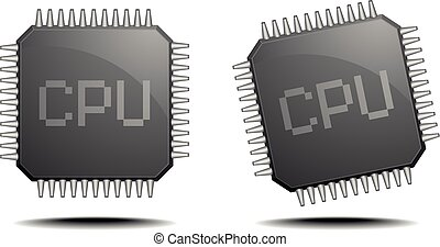 CPU - detailed illustration of a central processing unit,...