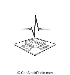 CPU with a heart beat icon, outline style
