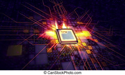 """""""CPU with transmission of golden signals """" - """"A hi-tech 3d..."""