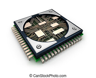CPU with visible circuits over white background