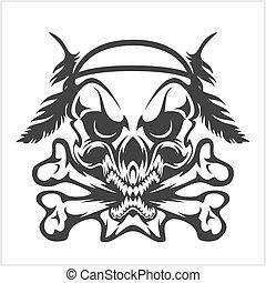 cráneo, -, aislado, norteamericano, blanco, crossbones, nativo