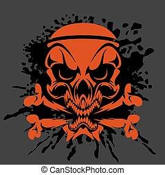 cráneo, -, aislado, oscuridad, pirata, crossbones