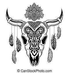 cráneo animal, tribal, ilustración, ornamentos, étnico