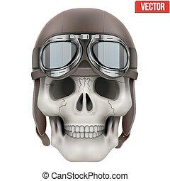 cráneo, aviador, biker, retro, humano, helmet., o