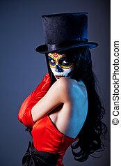 cráneo, azúcar, niña, vestido, tophat, rojo
