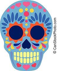 cráneo, azúcar, plano