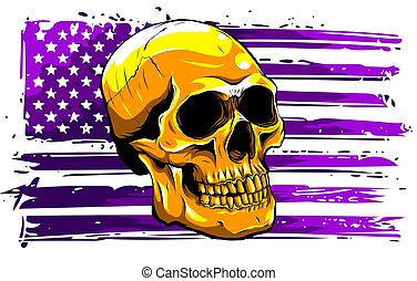 cráneo, bandera, usa., gráficos, ilustración, vector