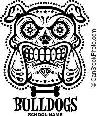 cráneo, bulldogs, azúcar