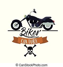 cráneo, clásico, vendimia, símbolo, cultura, biker, motocicleta, plano de fondo, cartel, huesos, blanco