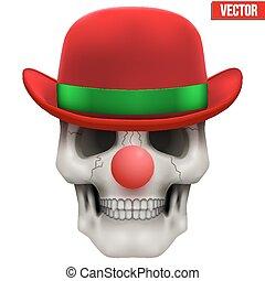 cráneo, clown., vector, humano, frente, vista.
