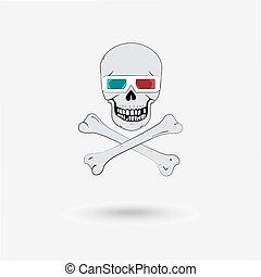 cráneo, con, anteojos de 3d
