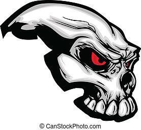cráneo, con, caricatura, vector, imagen