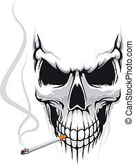 cráneo, con, cigarrillo