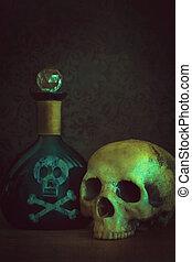 cráneo, con, veneno, botella