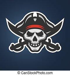 cráneo, cruzado, swords., pirata
