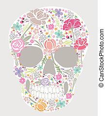cráneo, de, flores