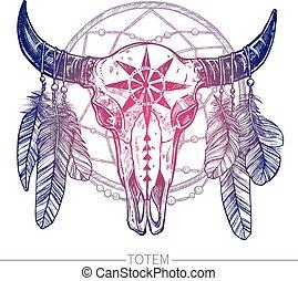 cráneo, dreamcatcher, búfalo
