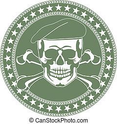 cráneo, emblema, en, un, boina