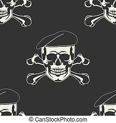 cráneo, emblema, en, un, boina, seamless