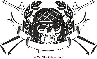 cráneo, en, el, militar, casco