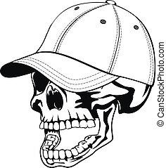 cráneo, en, gorra