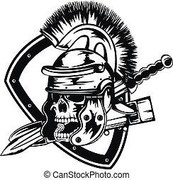 cráneo, en, legionary, casco