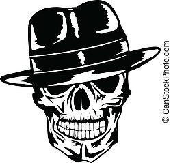 cráneo, en, sombrero, gángster