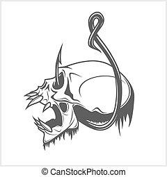 cráneo, en, un, gancho de pesca
