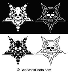 cráneo, entrelazar, demoníaco, cinco, puntiagudo, diseño, ...