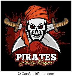 cráneo, espadas, cruz, cinta, pirata, rojo