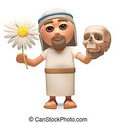 cráneo, flor, muerte, cristo, 3d, vida, ilustración, jesús,...