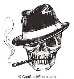 cráneo, gángster, tatuaje