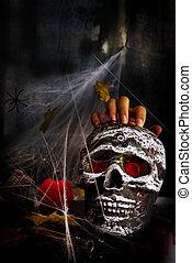 cráneo,  Halloween, Araña, tela, mano, fiesta, tabla, feliz