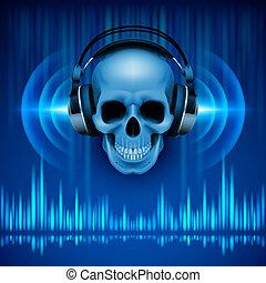 cráneo, headphones., plano de fondo, disco