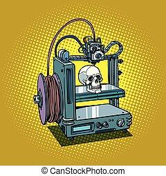 cráneo humano, 3d, impresora, fabricación