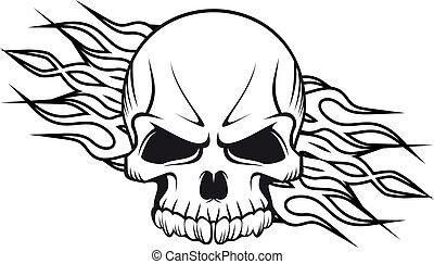 cráneo humano, llamas