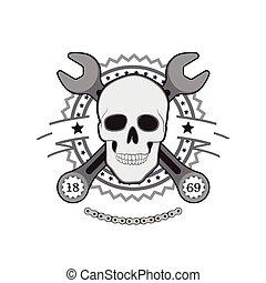 cráneo humano, llave inglesa