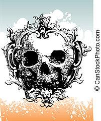 cráneo, ilustración, decaer