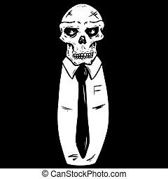 cráneo, llevando, corbata, traje