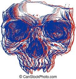 cráneo, máscara, 3d