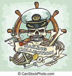 cráneo, navegación, -, colección, diseño, logotipo, capitán