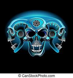 cráneo, one., tres, metálico