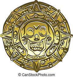 cráneo, oro, dinero, vector, moneda, pirata