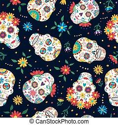 cráneo, patrón, muerto, plano de fondo, floral, día