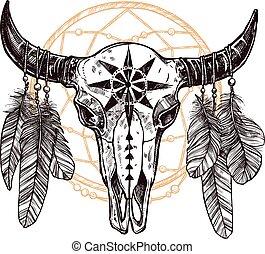 cráneo, plumas, búfalo