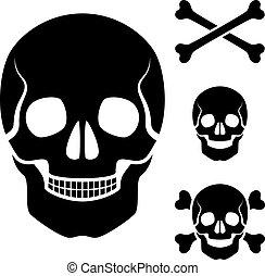 cráneo, símbolo, cruz, vector, humano, huesos
