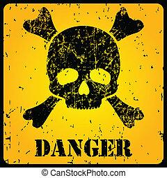 cráneo, señal de peligro, amarillo