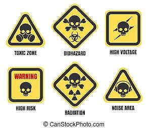 cráneo, señales, muerte, aviso, símbolos, conjunto